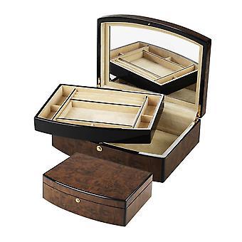 Orton West Luxury Jewellery Box - Dark Brown/Cream