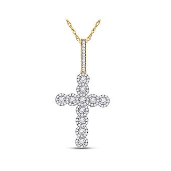 3/4 Carat (ctw) Diamond Cross Pendant Necklace in 10K Yellow Gold with Chain