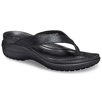 Crocs Femmes-apos;s Capri Metallic Text Flip Slip On Sandal 28737