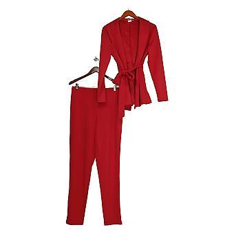 K Jordan Set Wrap Style Blazer With Collared V Neck Red