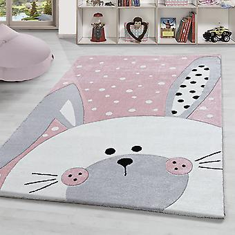 Children's rug bunny bunny pattern nursery high quality pastel pink grey white