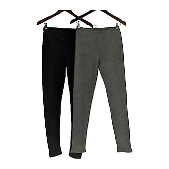 Cuddl Duds Leggings 2 Pk w/ Tapered Leg & Stretch Knit Gray A369295