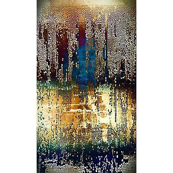 Mosaico cepillado 1 Alfombra impresa multicolor en poliéster, algodón, L60xP100 cm