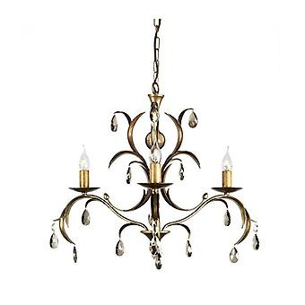 Lily Pendant Light, Antique Bronze And Glass, 3 Bulbs