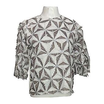 Masseys Women's 3/4 Sleeves Patterned Sequin Eyelash Top Silver/White