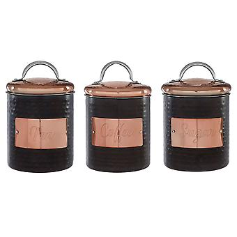 Prescott Hammered Tea Coffee Sugar Canisters Set