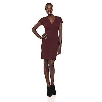 Brand - Lark & Ro Women's Cap Sleeve Faux Wrap Sheath Dress, Burgundy, 8