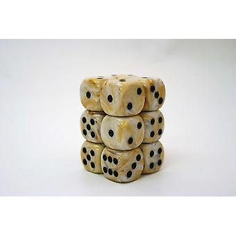 Chessex 16mm D6 Block of 12 - Marble Ivory/black