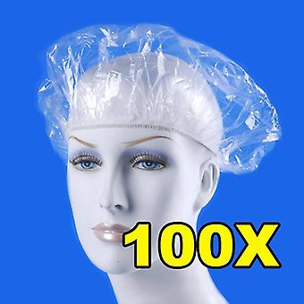 Disposable Shower Caps Hat Clear Spa Hair Salon Hotel One-off Bathing Elastic Shower Cap Bathroom Products Bath Caps