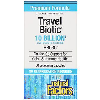 Natural Factors, Travel Biotic, BB536, 10 Billion Active Cells, 60 Vegetarian Ca