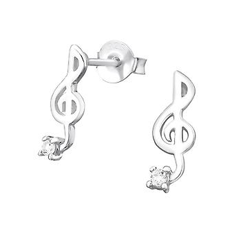 Sterling Silver Treble Clef Stud Earrings with Cubic Zirconia