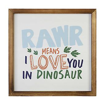 Square Dinosaur I Love You Wall Art