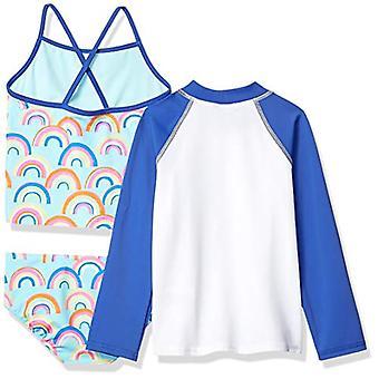 Brand - Spotted zebre Toddler Girls' 3-Piece Swim Set con Rashguard a...