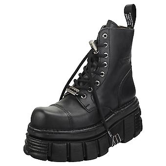 New Rock Combat Boots Unisex Platform Boots en noir