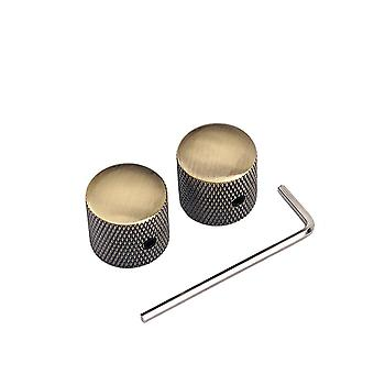 2PCS Screw Bronze Metal Guitar Dome Knobs for Guitar Parts