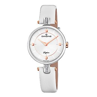 Candino Swiss C4658-1 Women's White Leather Strap Wristwatch