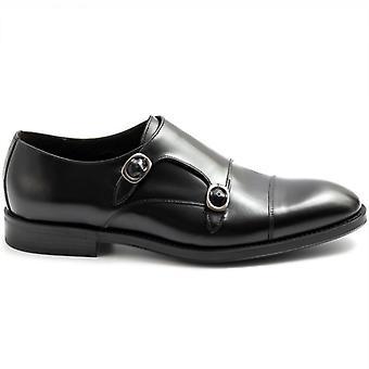 Marco Ferretti Black Double Buckle Men's Shoe