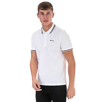 Men's Ben Sherman Skript gekippt Polo Shirt in weiß