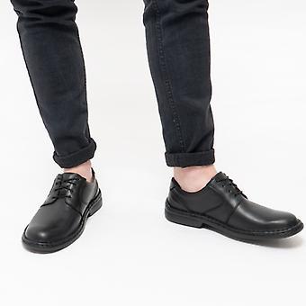 Josef Seibel Walt Mens Leather Derby Shoes Black
