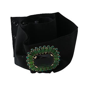 Black Stretch Green Crystal Wide Waist Belt