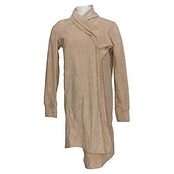Cuddl Duds Women's Sweater Stretch Cascade Open Front Cardi Beige A369840