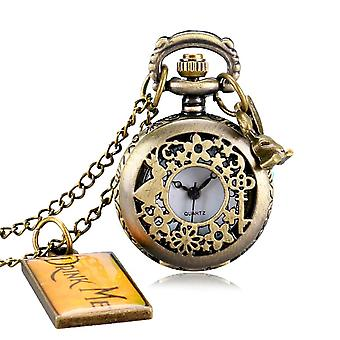 Alice In Wonderland Pocket Watch - Rabbit, Flower, Hollow Drinkquartz Watches