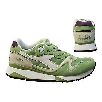Diadora V7000 Nyl II Green Nylon Suede Leather Lace Up Mens Trainers C6651 B2C