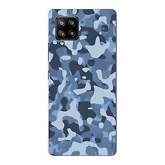 Scafo per Samsung Galaxy A42 5g Silicone Soft 1 Mm, Mimetismo Militare Blu