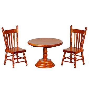 &שולחן עגול אגוז בית בובות סט ריהוט מיניאטורי עם 2 כיסאות