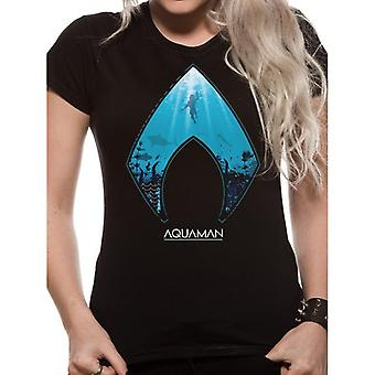 Aquaman mulheres/logotipo do filme das senhoras e T-shirt do símbolo