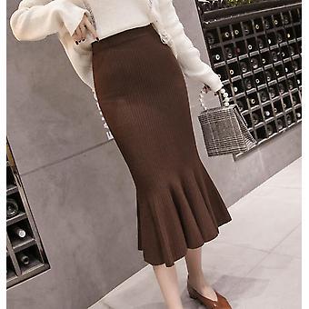 Vintage Knitted Women Streetwear Winter Bodycon Slim Hip Midi Skirts