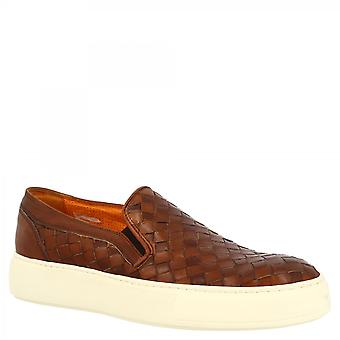 Leonardo Kengät Men's käsintehty pyöreät toe slip-on loafers kengät tan kudottu vasikannahka valkoinen pohja