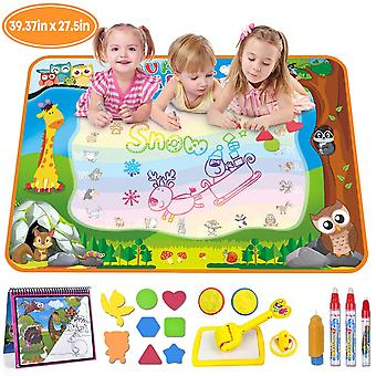 Merryxgift water doodle mat, large(39.4 x 27.5in) rainbow drawing mat 7 colors writing pad with aqua
