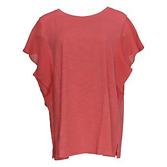 Belle by Kim Gravel Women's Plus Top Slub Knit Flutter Sleeve Pink A350467