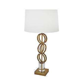 Lámpara de metal de anillo geométrico con sombra de tambor cónica, blanco y oro