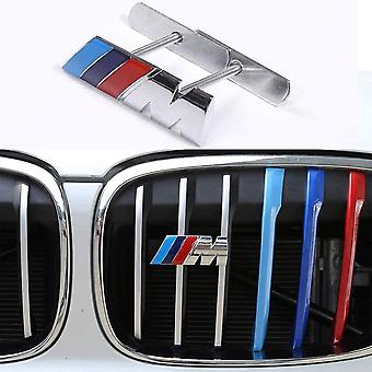 BMW M Front Grille Emblem Side Badge Grill Sticker 3D Chrome Badge Metal Power Car Fashion M3 M5 X1 X3 X5 X6 E46 E60 E90 E92