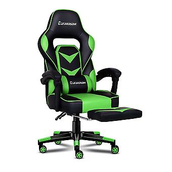 ELFORDSON Gaming Chair Office Seat Thick Padding Footrest Executive Racing Green