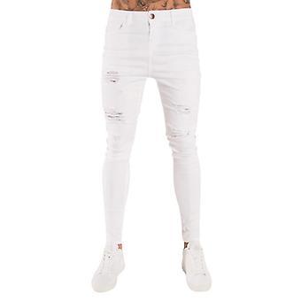 Miesten kiinteä väri farkut, slim lyijykynä housut, reikä revitty muotoilu, Streetwear