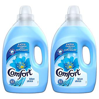 2x of 3L Comfort Blue Skies All Day Odour Defence Liquid Fabric Conditioner 85W
