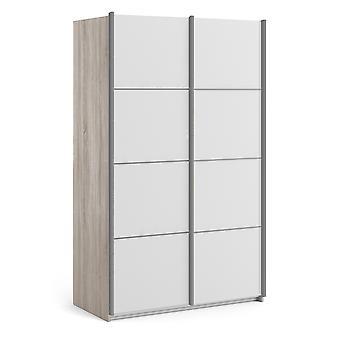 Phillipe Sliding Wardrobe 120cm in Truffle Oak with White Doors with 5 Shelves