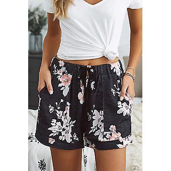 Schwarz Floral Print Drawstring elastische Taille Pocketed Casual Shorts