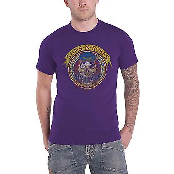 Guns N Roses T Shirt Skull Circle Band Logo nouveau Officiel Mens Purple