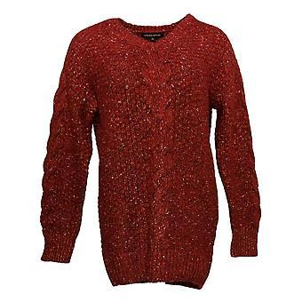 Adrienne Vittadini V-Neck Long Sleeve Sweater Red 1446450