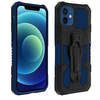 Stoßfeste Handyhülle iPhone 12 Mini, mit Gürtelclip und Ständer – Dunkelblau