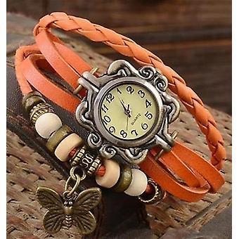 Casual Vintage Multilayer Butterfly Faux Leather Bracelet Wrist Watch