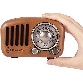HanFei J-919 Klassisches Design Retro-Holz UKW FM SD MP3 Bluetooth Transistor Radio mit Lautsprecher,