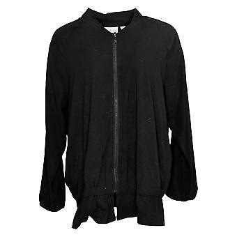 Belle by Kim Gravel Women's Bomber Jacket Mixed Media Black A367275