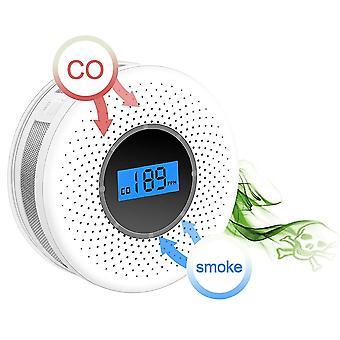 Alarma de humo de gas 2 en 1 LED digital Co detector de monóxido de carbono voz advertir sensor protección de seguridad en el hogar