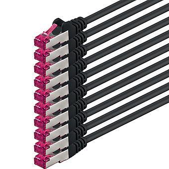 0,5m - schwarz - 10 Stück - Netzwerkkabel CAT6a (10Gb/s) S-FTP CAT 6a Lankabel - GHMT zertifiziert