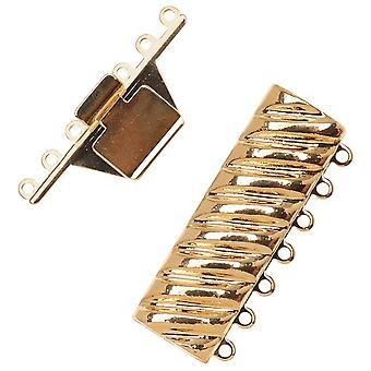 Filigree Box Clasps, 7 Strand Rectangle with Helix Design 18x40mm, 1 Piece, 23K Gold Plated